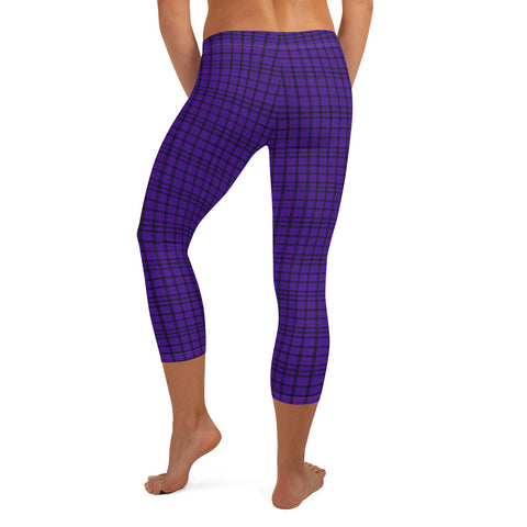 Purple Plaid Print Capri Leggings, Casual Tartan Scottish Plaid Tights-Made in USA/EU-Heidi Kimura Art LLC-Heidi Kimura Art LLC Purple Plaid Print Cute Designer Capri Designer Spandex Dressy Casual Fashion Leggings - Made in USA/EU (US Size: XS-XL) Plaid Leggings, Purple Plaid Leggings for Women for sale, Plaid Leggings, Plaid Tights Women, Women's Plaid Leggings, Purple Plaid Leggings Womens, Purple And Black Plaid Leggings