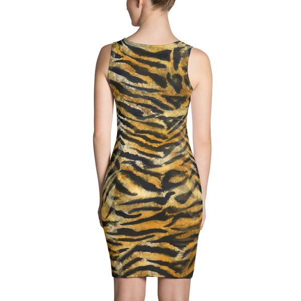 Orange Bengal Tiger Striped Women's Sleeveless 1-pc Long Best Tank Dress - Made in USA-Women's Sleeveless Dress-Heidi Kimura Art LLC