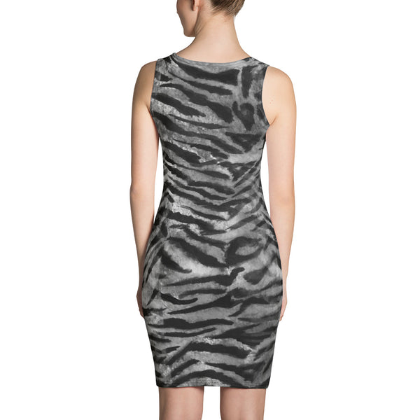 Grey Tiger Striped Women's Sleeveless Gray 1 Piece Tank Dress - Made in USA/ Europe-Women's Sleeveless Dress-Heidi Kimura Art LLC