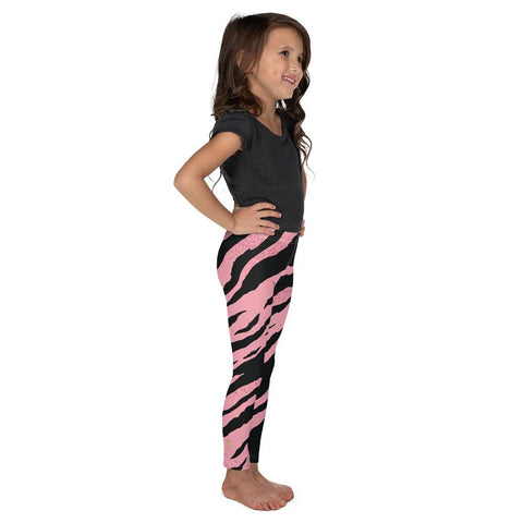 Pink Black Tiger Stripe Print Cute Premium Bestselling Kid's Leggings- Made in USA/EU-Kid's Leggings-Heidi Kimura Art LLC Pink Black Tiger Stripe Girl's Tights, Pink Black Tiger Stripe Print Designer Kid's Girl's Leggings Active Wear, 38-40 UPF Fitness Workout Gym Wear Running Tights, Comfy Stretchy Pants (2T-7) Made in USA/EU, Girls' Leggings & Pants, Leggings For Girls, Designer Girls Leggings Tights, Leggings For Girl Child