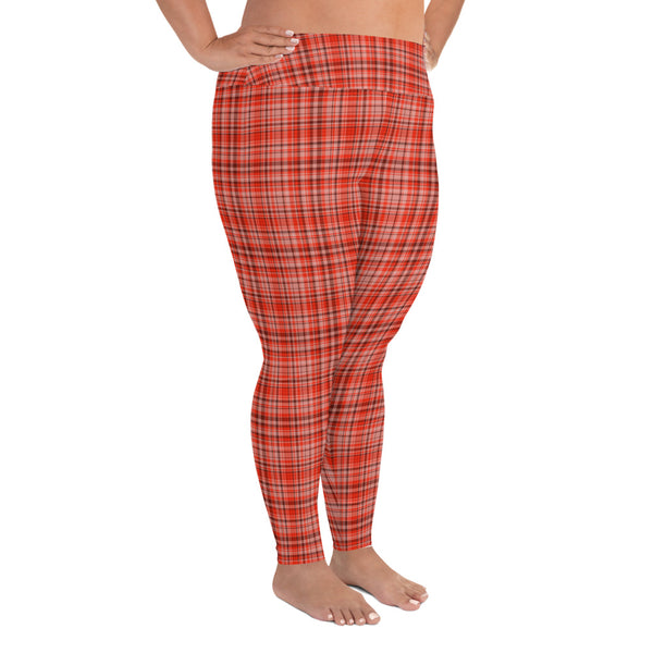 Red Plaid Scottish Tartan Print Women's Long Yoga Pants Plus Size Leggings-Women's Plus Size Leggings-Heidi Kimura Art LLC