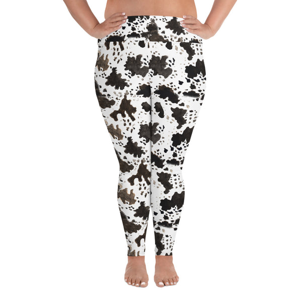 Cow Print Plus Size Women's Workout Fitness Sports Yoga Pants Long Leggings-Women's Plus Size Leggings-2XL-Heidi Kimura Art LLC Cow Print Plus Size Leggings, Cow Print Plus Size Women's Workout High Waist Ankle Length Fitness Sports Yoga Pants Long Leggings - Made in USA/EU (US Size: 2XL-6XL)