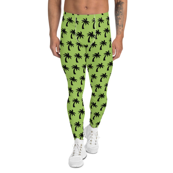 Green Palm Tree Men's Leggings, Tropical Hawaiian Palm Trees Meggings-Made in USA/EU-Heidikimurart Limited -XS-Heidi Kimura Art LLC Green Palm Tree Meggings, Palm Tree Surf Men's Leggings, Hawaiian Style Meggings Compression Tights, Surf Leggings For Men Printed Tropical Palm Trees Meggings, Palm Tree Leggings, Men's Modern Meggings, Men's Leggings Tights Pants - Made in USA/EU (US Size: XS-3XL) Sexy Meggings Men's Workout Gym Tights Leggings