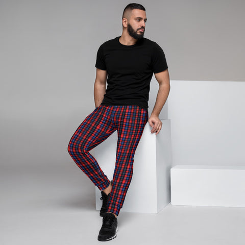 Red Blue Plaid Men's Joggers, Tartan Print Designer Ultra Soft & Comfortable Men's Joggers, Men's Jogger Pants-Made in EU (US Size: XS-3XL)