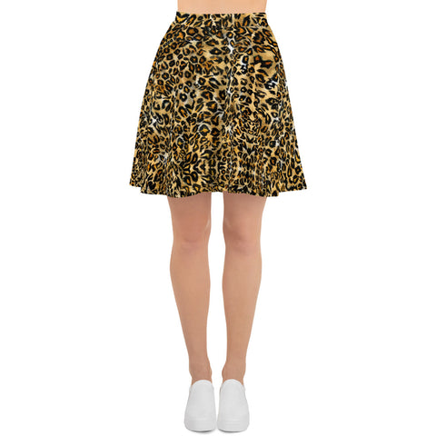 Brown Leopard Print Women's Skater Skirt, Best Brown Leopard Animal Print Sexy Print High-Waisted Mid-Thigh Women's Skater Skirt, Plus Size Available - Made in USA/EU (US Size: XS-3XL) Animal Print skirt, Leopard Print Skater Skirt, Leopard Skater Skirt