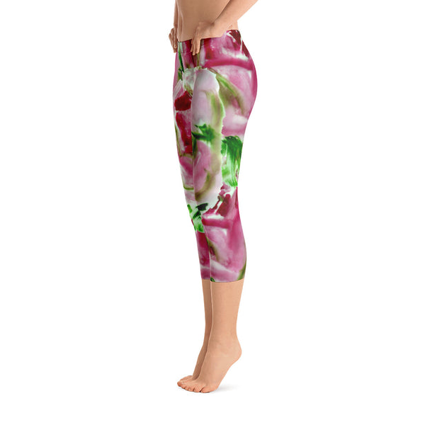 Red Rose Floral Print Women's Designer Capri Leggings Spandex Tightts- Made in USA-capri leggings-Heidi Kimura Art LLC