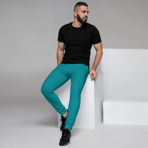 Teal Blue Men's Joggers, Bright Best Solid Color Sweatpants For Men-Made in EU/MX