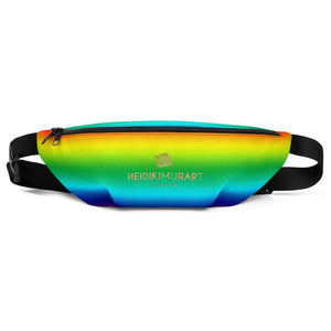 Rainbow Ombre Print Designer Fanny Pack Shoulder Belt Adjustable Bag- Made in USA/EU-Fanny Pack-S/M-Heidi Kimura Art LLC