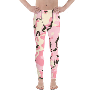 Light Pink Camo Camouflage Military Army Abstract Print Sexy Meggings-Made in USA/EU-Men's Leggings-XS-Heidi Kimura Art LLC