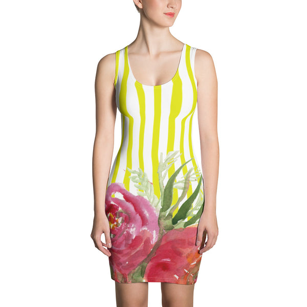 Koi Yellow Striped Women's 1-pc Red Floral Print Sleeveless Dress - Made in USA/ Europe