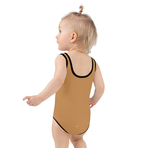 Brown Nude Girl's Swimwear, Modern Simple Solid Color Print Girl's Kids Luxury Premium Modern Fashion Swimsuit Swimwear Bathing Suit Children Sportswear- Made in USA/EU (US Size: 2T-7)