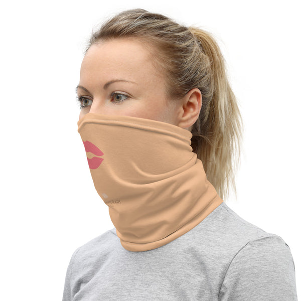 Peach Pink Lips Neck Gaiter, Washable Funny Face Mask Coverings-Made in USA/EU-Heidi Kimura Art LLC-Heidi Kimura Art LLC Peach Pink Lips Neck Gaiter, Funny Face Mask Neck Gaiter, Black Face Mask Shield, Luxury Premium Quality Cool And Cute One-Size Reusable Washable Scarf Headband Bandana - Made in USA/EU, Face Neck Warmers, Non-Medical Breathable Face Covers, Neck Gaiters
