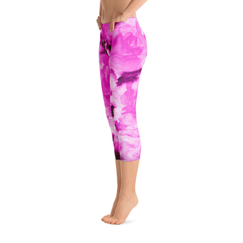 Mura Pink Rose Floral Designer Capri Leggings Casual Fashion Outfits - Made in USA