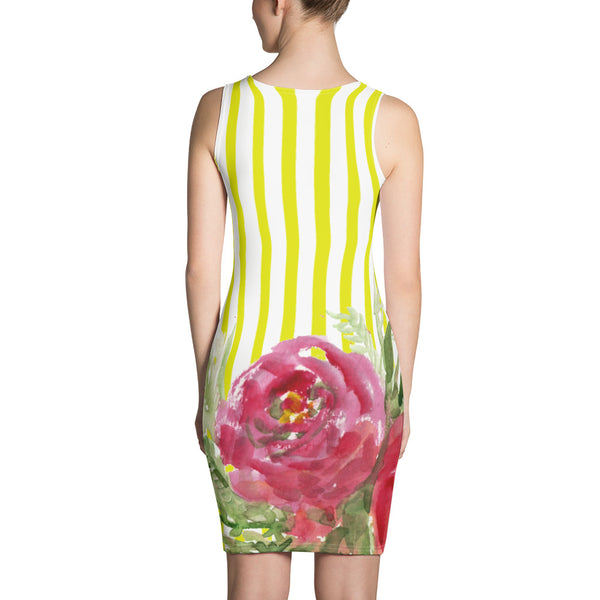 Yellow Striped Women's 1-pc Red Floral Print Long Best Sleeveless Dress - Made in USA/EU-Women's Sleeveless Dress-Heidi Kimura Art LLC