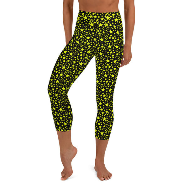 Yellow Rock Star Pattern Print Black Women's Yoga Capri Leggings Pants-Made in USA/EU-Capri Yoga Pants-Heidi Kimura Art LLC Yellow Rock Star Capri Leggings, Yellow Rock Star Pattern Print Black Yoga Capri Pants Leggings With Pockets Plus Size Available - Made In USA/EU (US Size: XS-XL)
