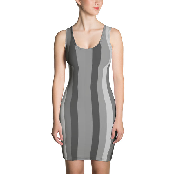 Designer Striped Gray Print Women's 1-pc Designer Dress XS-XL Sizes - Made in USA/EU-Women's Sleeveless Dress-XS-Heidi Kimura Art LLC