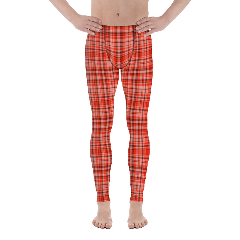 Red Plaid Tartan Print Elastic Fitted Stretchy High Waist Men's Leggings-Made in USA/EU-Men's Leggings-XS-Heidi Kimura Art LLC