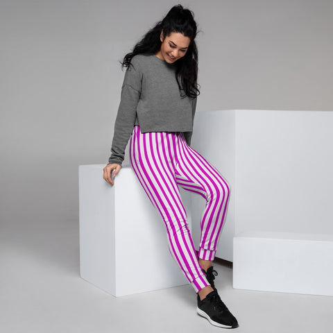 Pink White Striped Women's Joggers, Vertical Stripes Circus Slit Fit Soft Women's Joggers Sweatpants -Made in EU (US Size: XS-3XL) Plus Size Available, Women's Joggers, Soft Joggers Pants Womens, Women's Long Joggers, Women's Soft Joggers, Lightweight Jogger Pants Women's, Women's Athletic Joggers, Women's Jogger Pants