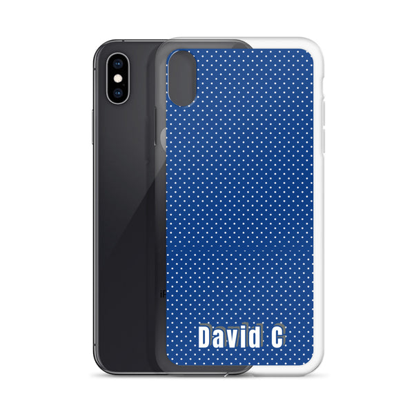 Blue Polka Dots Print Custom Names iPhone Case-Made in USA-Phone Case-Heidi Kimura Art LLC