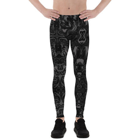 Black Marble Men's Leggings, Abstract Marble Print Premium Meggings Best Men Tights Men's Leggings Tights Pants - Made in USA/EU (US Size: XS-3XL) Sexy Meggings Men's Workout Gym Tights Leggings