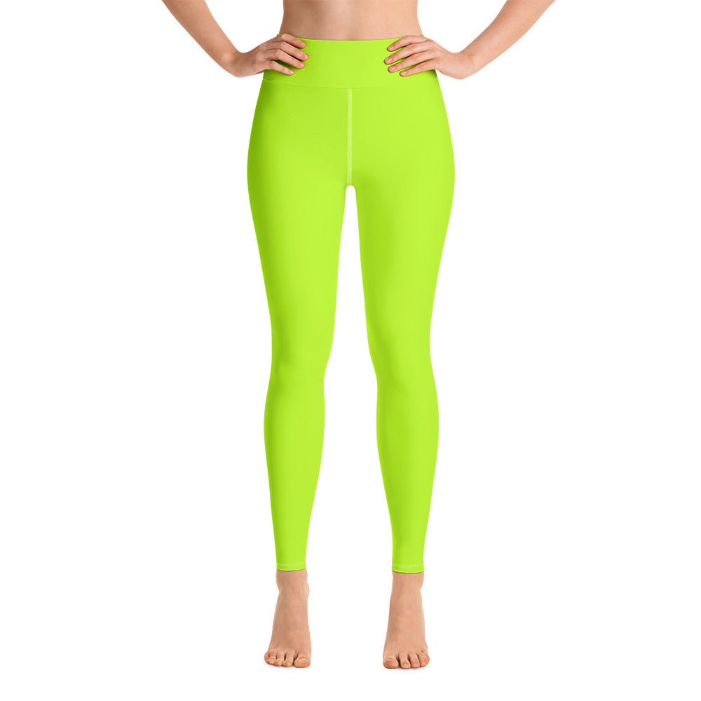 Women's Neon Green Solid Color Active Wear Fitted Leggings Sports Long Yoga Pants-Leggings-XS-Heidi Kimura Art LLC Neon Green Women's Leggings, Women's Neon Green Solid Color Active Wear Fitted Sports Leggings Sports Long Yoga & Barre Pants - Made in USA/EU (US Size: XS-6XL)