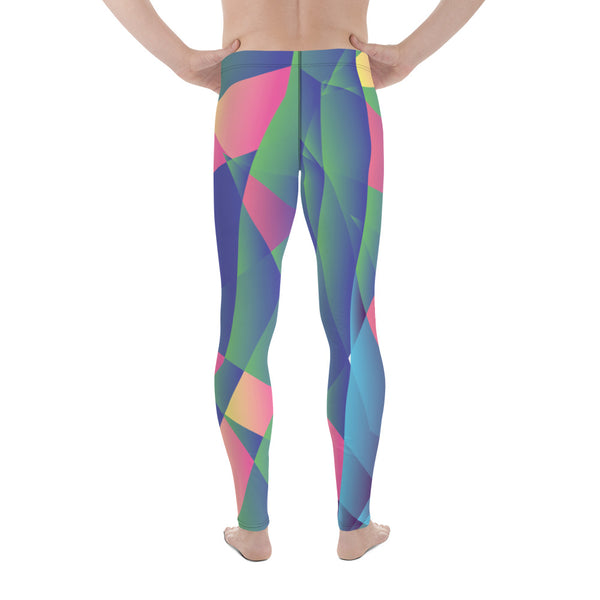 Sparkling Blue Diamond Print Compression Men's Leggings Activewear Tights - Made in USA/EU-Men's Leggings-Heidi Kimura Art LLC