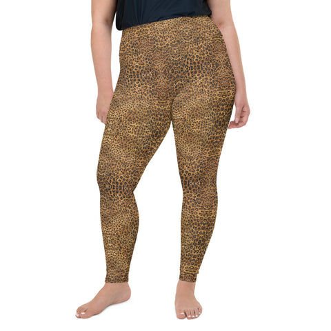 Leopard Plus Size Leggings, Animal Print Yoga Pants For Women-Made in USA/EU-Heidi Kimura Art LLC-2XL-Heidi Kimura Art LLC Leopard Plus Size Leggings, Women's Brown Animal Print High Waist Premium Women's Long Yoga Tights Pants Plus Size Leggings- Made in USA (US Size: 2XL-6XL)