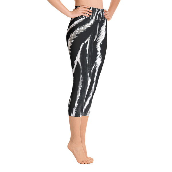 Zebra Stripe Animal Print Women's Yoga Capri Leggings- Made in USA (Size: XS-XL)-Capri Yoga Pants-Heidi Kimura Art LLC