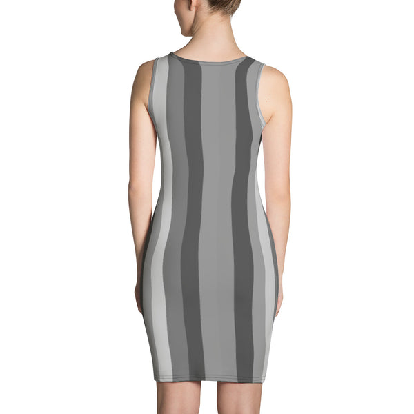 Designer Striped Gray Print Women's 1-pc Designer Dress XS-XL Sizes - Made in USA/EU-Women's Sleeveless Dress-Heidi Kimura Art LLC