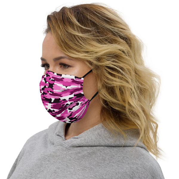 Pink Camo Premium Face Mask, Army Military Print Designer Non-Medical Face Covering-Heidikimurart Limited -Heidi Kimura Art LLC