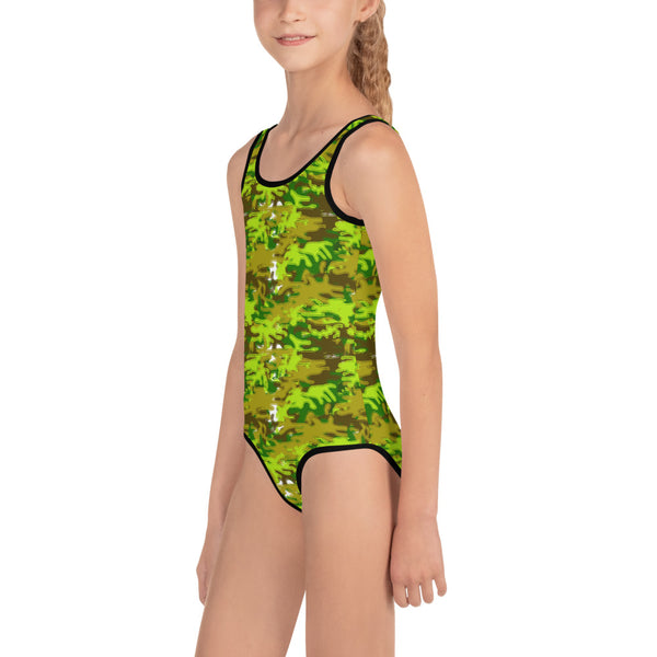 Fun Green Camouflage Army Military Print Girl's Kids Swimsuit Swimwear- Made in USA-Kid's Swimsuit (Girls)-Heidi Kimura Art LLC