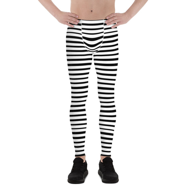 Black White Stripe Horizontal Print Premium Men's Leggings Stretchy Tights - Made in USA/EU-Men's Leggings-XS-Heidi Kimura Art LLC
