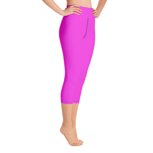 Bright Solid Hot Pink Capri Leggings, Sports Fitness Yoga Pants-Made in USA/ EU (XS-XL)-Capri Yoga Pants-Heidi Kimura Art LLC