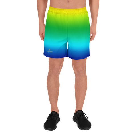 Yellow Green Ombre Print Premium Men's Athletic Long Shorts- Made in EU (US Size: XS-3XL)-Men's Long Shorts-XS-Heidi Kimura Art LLC