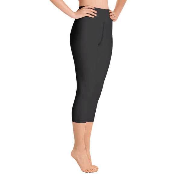 94a8058e9168b9 Akai Black Women's Cotton Yoga Capri Pants Leggings With Pockets-Made In USA (Size ...