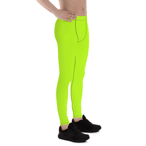 Lime Green Neon Print Men's Leggings, Running Meggings Activewear- Made in USA/EU-Men's Leggings-Heidi Kimura Art LLC
