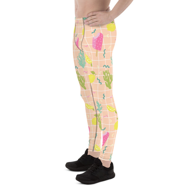 Arizona Lemon Cactus Print Meggings, Designer Men's Leggings Pants-Made in USA/EU-Men's Leggings-Heidi Kimura Art LLC