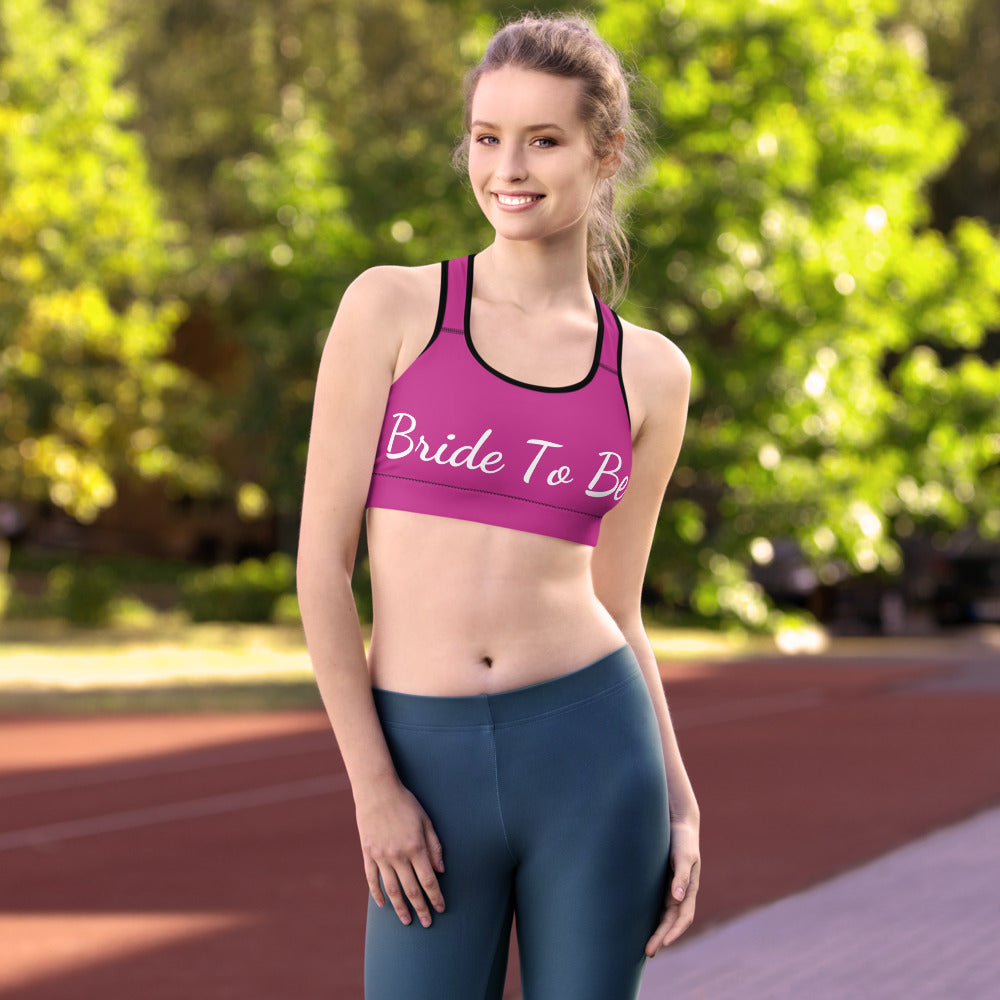 Bride To Be Hot Pink Unpadded Women's Premium Gym Sports Bra - Made in USA/ EU-Sports Bras-White-XS-Heidi Kimura Art LLC