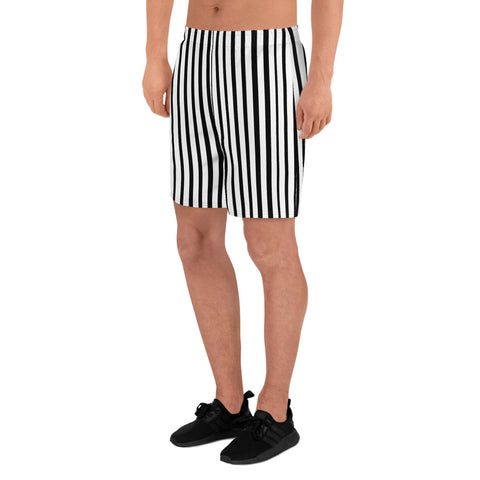 Designer Premium Black White Vertical Stripe Print Men's Athletic Long Shorts-Made in EU-Men's Long Shorts-Heidi Kimura Art LLC