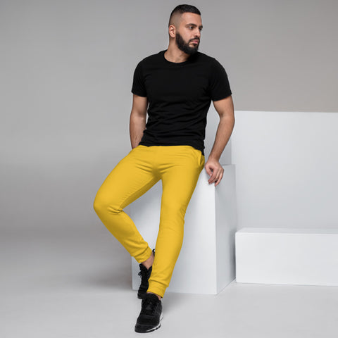 Bright Yellow Men's Joggers, Colorful Designer Best Designer Men's Joggers, Best Solid Color Sweatpants For Men, Modern Slim-Fit Designer Ultra Soft & Comfortable Men's Joggers, Men's Jogger Pants-Made in EU/MX (US Size: XS-3XL)