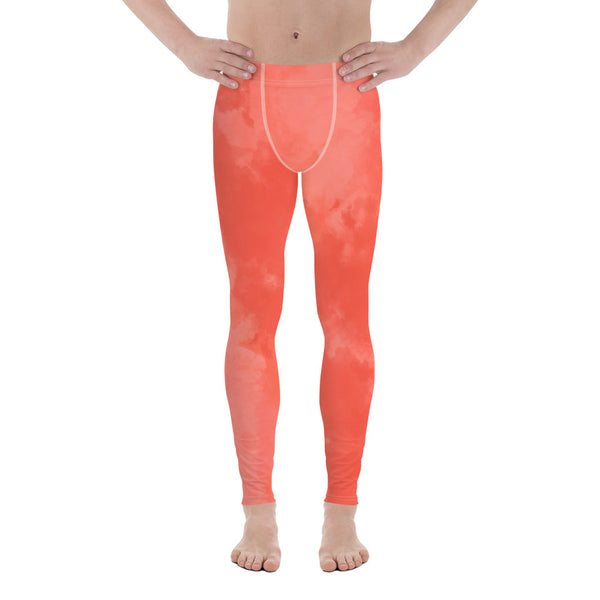 Peach Coral Pink Meggings, Abstract Print Men's Leggings-Heidikimurart Limited -Heidi Kimura Art LLC Peach Coral Pink Meggings, Abstract Print Classic Premium Best Meggings Compression Tights Sexy Meggings Men's Workout Gym Tights Leggings, Men's Compression Tights Pants - Made in USA/ EU/ MX (US Size: XS-3XL)