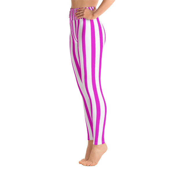Women's Pink Stripe Active Wear Fitted Leggings Sports Long Yoga & Barre Pants-legging-Heidi Kimura Art LLC