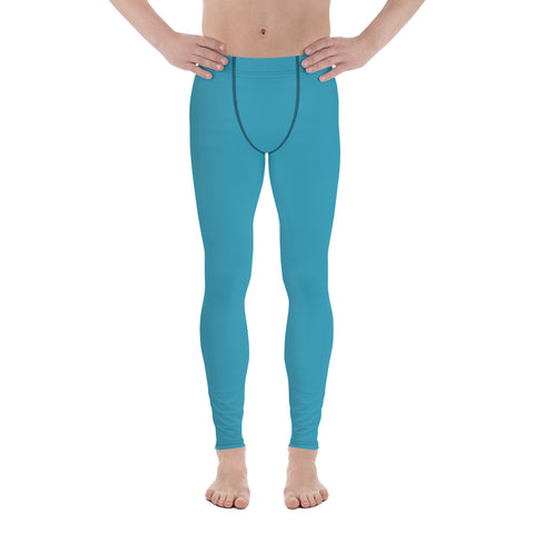 Blue Solid Color Men's Leggings, Modern Meggings Compression Run Tights-Made in USA/EU-Heidi Kimura Art LLC-Heidi Kimura Art LLC Blue Meggings, Aqua Blue Solid Color Print Premium Classic Elastic Comfy Men's Leggings Fitted Tights Pants - Made in USA/EU (US Size: XS-3XL) Spandex Meggings Men's Workout Gym Tights Leggings, Compression Tights, Kinky Fetish Men Pants