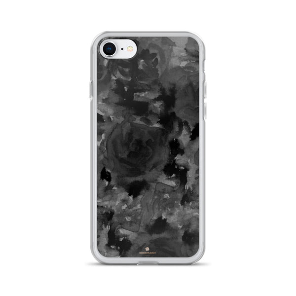 Gray Floral Print iPhone Case, Abstract Rose Floral Print iPhone Cellphone Phone Case-Phone Case-iPhone 7/8-Heidi Kimura Art LLC
