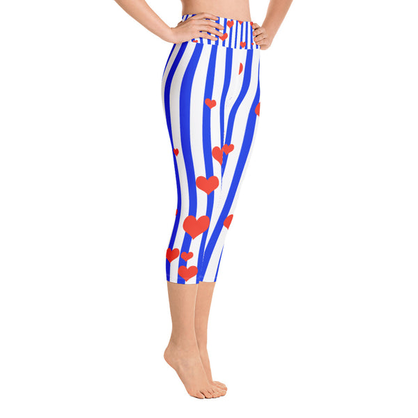 Blue Striped Women's Capri Leggings, American Patriotic Leggings w/ Pockets - Made in USA/EU-Capri Yoga Pants-Heidi Kimura Art LLC