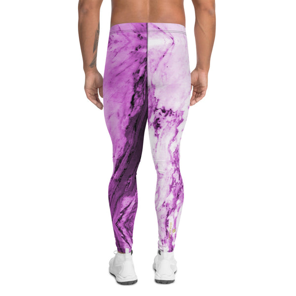 Pink Purple Marble Print Meggings, Abstract Designer Men's Leggings-Heidi Kimura Art LLC-Heidi Kimura Art LLC