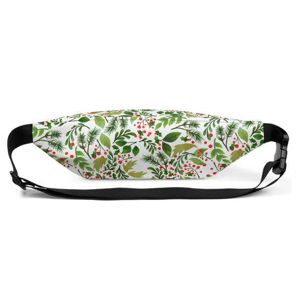 Green White Christmas Red Berries Floral Print Designer Fanny Pack- Made in USA/EU-Fanny Pack-Heidi Kimura Art LLC