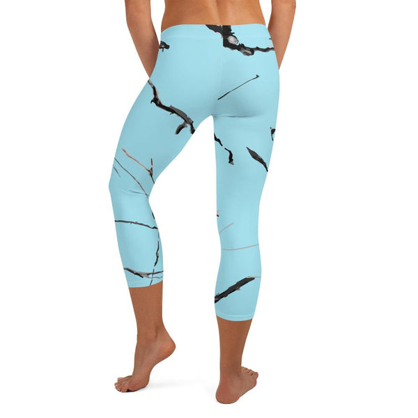 Light Blue Marble Print Women's Dressy Fashion Capri Leggings Pants- Made in USA/ EU-capri leggings-Heidi Kimura Art LLC