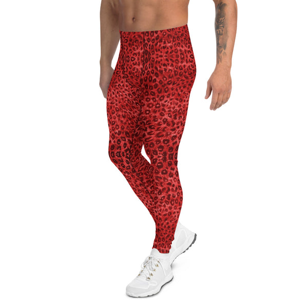 Red Leopard Men's Leggings, Animal Print Sexy Party Meggings-Made in USA/EU-Heidikimurart Limited -Heidi Kimura Art LLC Red Leopard Print Men's Leggings, Red Animal Print Leopard Modern Meggings, Men's Leggings Tights Pants - Made in USA/EU/MX (US Size: XS-3XL) Sexy Meggings Men's Workout Gym Tights Leggings