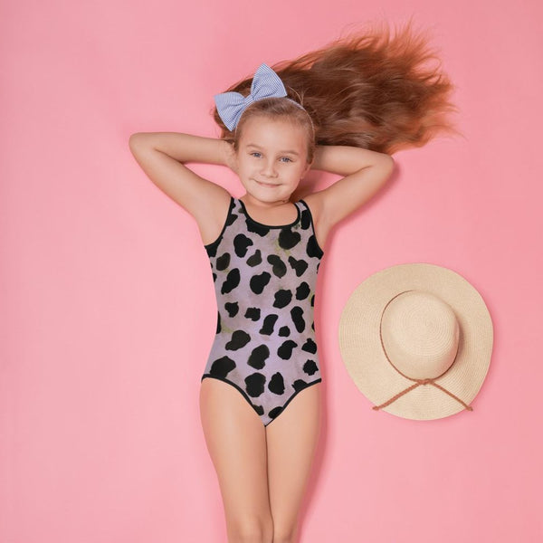 Light Purple Brown Cow Animal Print Girl's Swimsuit-Made in USA/EU (US Size: 2T-7)-Kid's Swimsuit (Girls)-2T-Heidi Kimura Art LLC Purple Cow Girl's Swimsuit, Light Purple Brown Farm Cow Animal Print Girl's Premium Cute Kids Swimsuit- Made in USA/ EU, UPF 38-40, Sun Protective Clothing Swimwear (US Size: 2T-7)